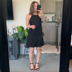 Lulu's Black Scallop Dress